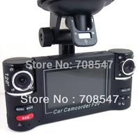 "Free Shipping F600  2.7"" TFT LCD Screen Dual Lens Night Vision video camorder 1280 X 480P Car DVR Video Recorder Camera"