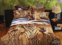 NEW Beautiful 4PC 100% Cotton Comforter Duvet Doona Cover Sets FULL / QUEEN / KING SIZE bedding set 4pcs leopard tiger