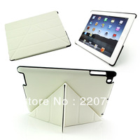 Free shipping 4 Shapes Leather Smart Cover Case for ipad 2 3 , Embossed Hard Shell +Anti-skid Rubber + Utrathin design-White