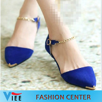 2013 female shoes autumn fashion metal toe low-heeled pointed toe shoes cap covering women princess single shoes H0092
