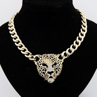 Free Shipping European Fashion Jewelry Chunky Chain Gold Leopard Pendant Choker Necklace Luxury With Rhinestones For Women