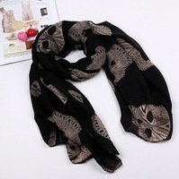 fashion personality Skull Chiffon scarf wholesale Free Shipping!