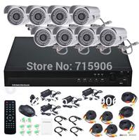 Free shipping 8CH CCTV NetWork Surveillance Weatherproof Security IR Camera DVR System US,UK,EU