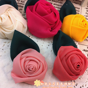 Handmade accessories diy chiffon rose hair accessory hairpin proportionating