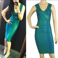 Free Shipping 2014 New Arrived Metallic Green Sexy Bandage Celebrity Dress Six Color