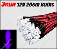 50pcs 3mm UV Pre Wired Water clear led 12V 20cm Bulbs Light Lamp