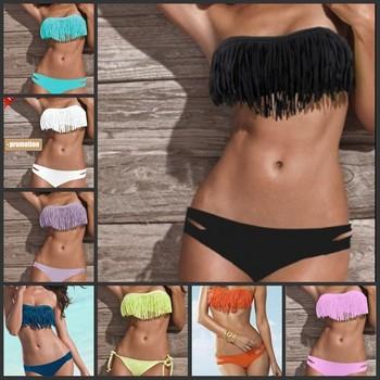 Sexy Women Tassel PADDED Bandeau Fringe Boho Swimsuit Swimwear BIKINI 2pcs SET  BK01