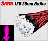 50pcs 3mm  Pink Pre Wired Water clear led 12V 20cm Bulbs Light Lamp