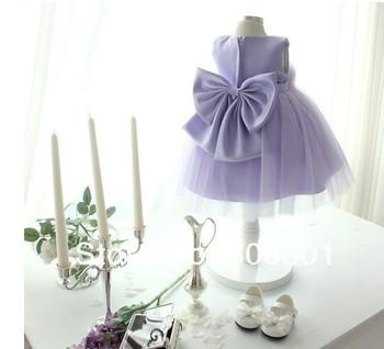 Pure purple 2015 international best-selling girl dress children's clothing children evening dress