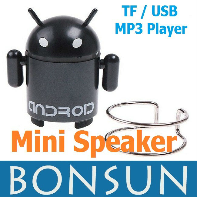 100% quality Mini Portable Android Robot Music Speaker for PC , MP3 MP4 player ,mobile phone black red color Free shipping(China (Mainland))
