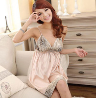 2013 new fashion Sexy Leopard grain pajamas emulation silk  nightgown Deep V-neck night skirt  Free shipping