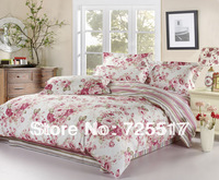 Floral Pattern Queen size Pink Color Cotton Duvet Cover bedding sets 4pcs Free DHL Shipping