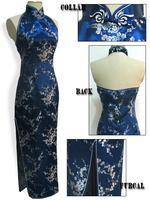 "Free Shipping Navy blue Women's Satin Polyester Cheong-sam Long Qipao Dress S-6XL "" LGD J3077 """