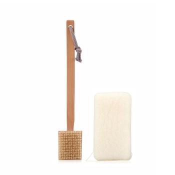 Wool long-handled bath brush massage corneous natural konjac sponge bath ball set