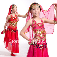kids belly dancing costume gonfalons skirt indian dance set costume red