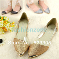 Euramerican Metal Shining Clear Pointed Toe Flats,Woman Shoes Low Heels, Women Casual Shoes 10213