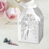 "New Arrival FB1003-03 12pcs/set 2.4""*2.4""*3.5"" Laser Cut  Bride  Groom Wedding Favor box(Color can be customized)"