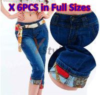 Harem Pants Denim Jeans for Wholesale 6PCS Full Size in A Package Light/Dark Blue British Style Harem Trousers YS-Linggan-1868-1