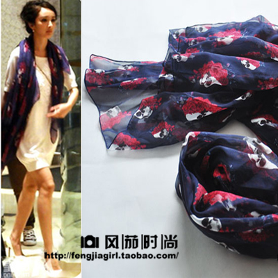 Free shipping 2013 real silk fashion women female Summer skull rose silk scarf silk mulberry silk large facecloth cape(China (Mainland))