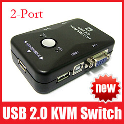 Portable USB 2.0 KVM 2 Ports Selector VGA Print Auto Switch Box Controller 1920*1440 Free Shipping(China (Mainland))