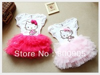 2013 girls summer tutu dress children cartoon kitty clothing  kids 2 colors dresses