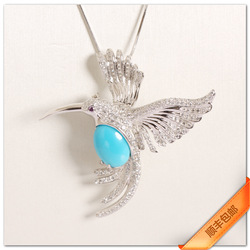 Turquoise corsage pin pendant dual-use fashion vintage feather gift Men(China (Mainland))