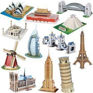 Freeshipping! MINI CubicFun 3D Puzzle,13 Famous buildings 3D paper model DIY puzzle Educational toys for kids