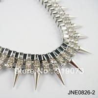 Min.Order $10 Fashionable woman punk crystal necklace rivet gold necklace silver rivet necklace western design  Free shipping