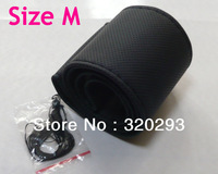 New Black Size M  PU Leather Steering Wheel Cover Car