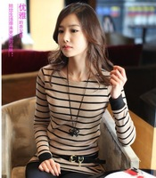 1pc /lot , Free Shipping Korean Women Casual FULL SLEEVE Striped Spring autumn SHIRT O-neck  Fashion Women's Tops