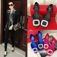 Fashion new arrival 2013 fashion rv side buckle rhinestone flat autumn shoes satin fabric low-top shoes single shoes female