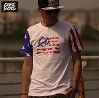 West coast coke boys Stars and Stripes hiphop hip-hop skateboard male short-sleeve T-shirt plus size plus size