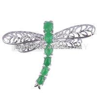 Free Shipping! 4pcs Dragonfly Green Jade Brooch JBH001