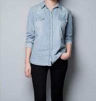 2014 new women's denim blouse Thin section blue shirts free shipping