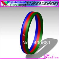 Sample Order Free Shipping  Azerbaijan National Stripe Silicone Wristband/Bracelet
