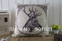 Free shipping Beautiful Elegant Animal Reindeer pattern linen cotton cushion cover decorative throw pillow case