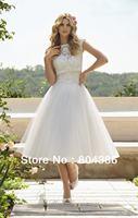 6749 White eleagnt country bridal bolero jacket lace sweetheart tulle ball gown tea length wedding dress