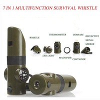 7 in 1 multifunction Outdoor Survival Whistle With Compass, Magnifier, Thermometer, LED
