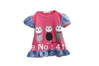 Hot Selling Baby Grils 100%cotton Short T-shirt Cartoon Cat Stripe Letter Top Lace Ruffle Shirt 4pcs/lot Free Shopping-1126