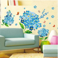 New Arrival PVC remove 50*70 third generation of blue beautiful flower tv / sofa / bedroom decoration wall sticker FREE SHIPPING