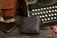 [Free Shipping] New Brown Short  leather wallets style restoring ancient ways men's genuine leather wallet purse