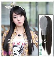"Free Shipping Women's Girls Long 27"" Half Wigs1/2 Head Long Straight Clip Reversible Hair Wigs,Black,Brown Synthetic U Part Wig"