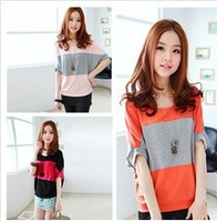 free shipping 2013 summer plus size top women's batwing sleeve short-sleeve loose stripe T-shirt