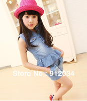 2013 kids new style denim clothes set for girl V-neck top+shorts fashion kids girls sets children's jean suit for summer