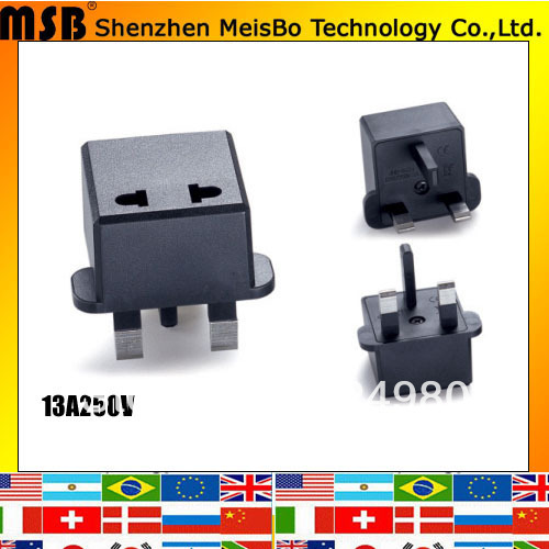 Mini travel 13A 250V ABS material Eu to Thailand converter for Malaysia 10pcs/lot free shipping(China (Mainland))