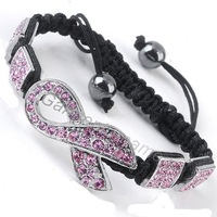 3pcs  pink awareness breast cancer ribbon crystal shamballa bracelet 3colors free shipping