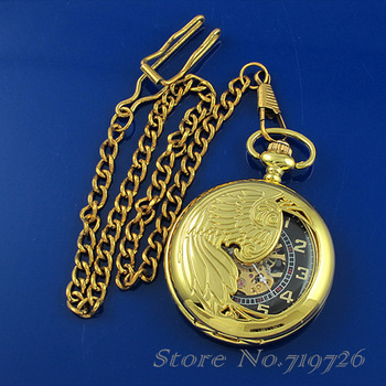 2 PCS/Lot Free Shipping Vintage Luxury Gold Hollow Phoenix Pendant Mens Mechanical Pocket Watch Necklace HB0029