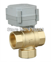 3 wires DC12V/24V 3 way motorized valve NPT/BSP 1'' T type with on/off indicator for water heating HVAC air conditional