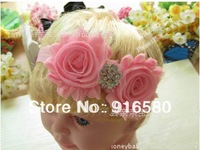 Free Shipping Mix 9 Colors  2.5'' Dobbule Shabby Flower Frayed Flower Baby Hair Accessories Headband