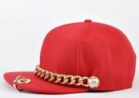 2013 new arrival punk style dance hat casual rock hip-hop hat snapback baseball ring hiphop cap chain cap flat hat jazz hat